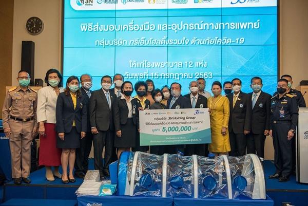 กลุ่มบริษัท ทรีเอ็น โฮลดิ้ง สนับสนุนโรงพยาบาล 12 แห่ง สู้โควิด-19 มูลค่า 5 ล้านบาท  และมอบเงิน 1.5 ล้าน ร่วมสมทบกองทุนเพื่อที่ทำการสภาเทคนิคการแพทย์